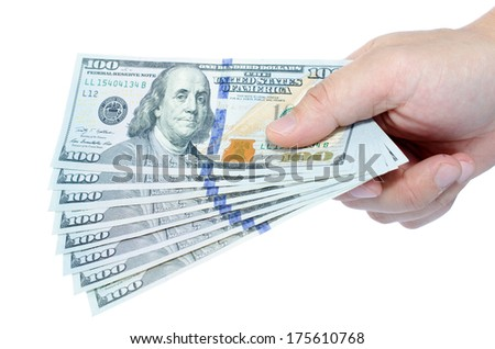 New One hundred dollars pile on hand, white background. - stock photo