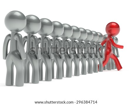 New opportunities different people stand out from the crowd individuality character red unique man think differ person otherwise concept human confidence trust vote icon. 3d render isolated - stock photo