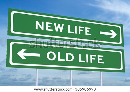 new or old life, Lifestyle choices concept on road billboard