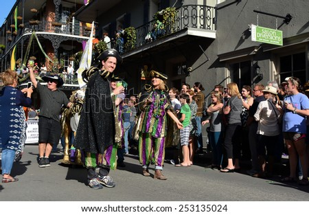 NEW ORLEANS, LA.-FEB. 8:  The Mystic Krewe Of Barkus parades through the New Orleans French Quarter on February 8, 2015.  Barkus is a Mardi Gras parade dedicated to dogs, pups and their owners.