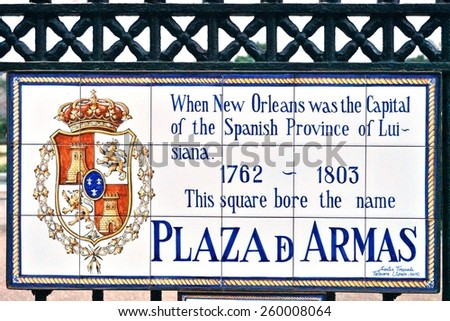 NEW ORLEANS, LA -20 FEBRUARY 2015- Editorial: Street plaques in the French Quarter give the name of the streets when New Orleans was the capital of the Spanish province of Luisiana (1762-1803). - stock photo
