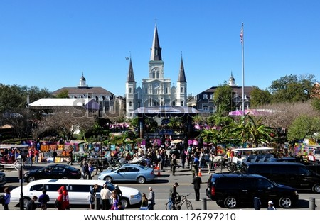 NEW ORLEANS, LA.-FEBRUARY 1:  Jackson Square, in the New Orleans French Quarter, on Feb.1, 2013.  The square is packed with live television broadcasts and tourists during Superbowl XLVII week. - stock photo