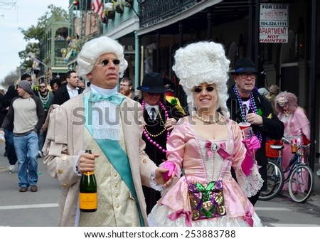 NEW ORLEANS, LA.-FEBRUARY 17:   Masqueraders parade through the New Orleans French Quarter on Mardi Gras Day, Tuesday, February 17, 2015.