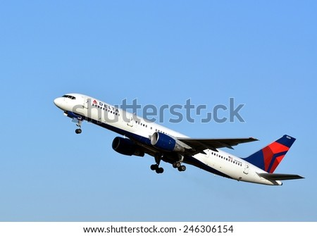 NEW ORLEANS, LA-JAN 19:  a Delta Airlines Commercial Passenger Jet departs New Orleans International Airport on January 19, 2015.