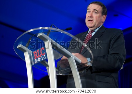 NEW ORLEANS, LA - JUNE 16: Former Governor Mike Huckabee addresses the Republican Leadership Conference on June 16, 2011 at the Hilton Riverside New Orleans in New Orleans, LA.