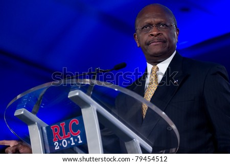 NEW ORLEANS, LA - JUNE 17: Presidential candidate Herman Cain addresses the Republican Leadership Conference on June 17, 2011 at the Hilton Riverside New Orleans in New Orleans, LA.