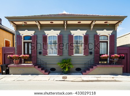 New Orleans, LA USA - April 22, 2016: A beautifully restored home in the historic French Quarter district.