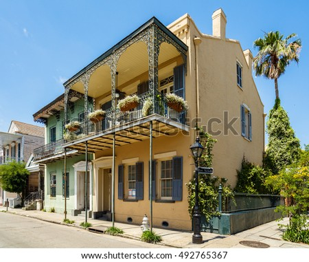 New Orleans, LA USA - April 22, 2016: Beautiful historic architecture of the French Quarter.