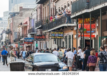 New Orleans, LA/USA - circa March 2009: People tourists on the Streets of French Quarter in New Orleans, Louisiana - stock photo
