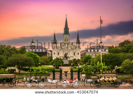 New Orleans, Louisiana at Jackson Square. - stock photo