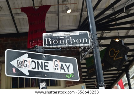 New Orleans, Louisiana - August 14th, 2016: Bourbon Street sign in New Orleans, Louisiana.