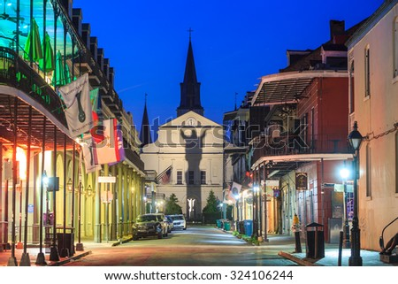 NEW ORLEANS, LOUISIANA - AUGUST 25: The French Quarter in downtown New Orleans at night on August 25, 2015.  - stock photo