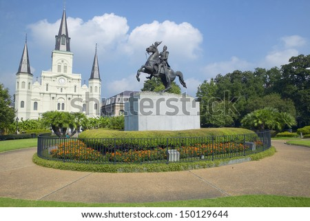NEW ORLEANS, LOUISIANA - CIRCA 2004: Andrew Jackson Statue & St. Louis Cathedral, Jackson Square in New Orleans, Louisiana - stock photo