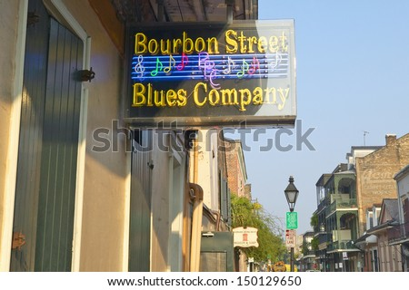 NEW ORLEANS, LOUISIANA - CIRCA 2004: Blues club on Bourbon Street in French Quarter of New Orleans, Louisiana - stock photo