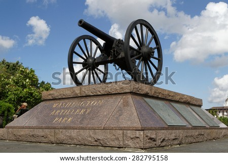 NEW ORLEANS, LOUISIANA, May 5, 2015 : Headquartered in New Orleans, Washington Artillery was founded in 1838. A detachment was mobilized to New Orleans  with rescue efforts after Hurricane Katrina. - stock photo