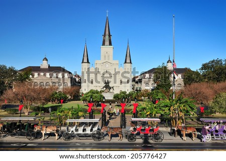 NEW ORLEANS, LOUISIANA, USA - DEC. 2012: The Saint Louis Cathedral-Basilica of Saint Louis, King of France in Jackson Square at French Quarter, New Orleans, Louisiana USA.