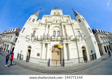 NEW ORLEANS, LOUISIANA USA - MAY 1, 2014: Fish eye view of beautiful Saint Louis Cathedral in the French Quarter in New Orleans, Louisiana. - stock photo