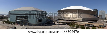 New Orleans, Louisiana, USA - October 9, 2013:New Orleans Sports and Entertainment Complex (panoramic) with the New Orleans Arena and the Superdome on October 9, 2013 in New Orleans, Louisiana - stock photo