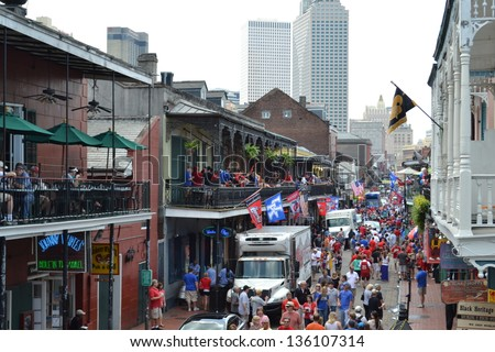 NEW ORLEANS - MARCH 30: Bourbon Street flooded with Final Four fans on March 30, 2012 in New Orleans, LA. The final game of the tournament was held March 31, 2012.
