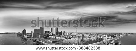 New Orleans, panoramic view at sunset. - stock photo