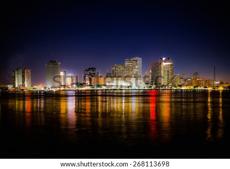 New Orleans Skyline at Night - stock photo