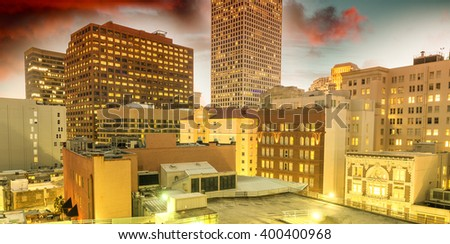 New Orleans skyline at sunset, USA - stock photo