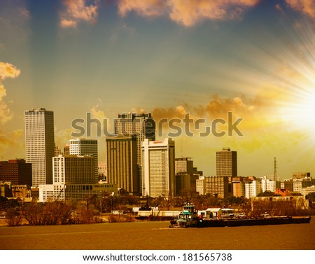 New Orleans skyline. City buildings on Mississippi river, Lousiana. - stock photo