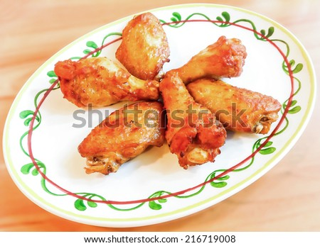 New Orleans Style Chicken Wing, Chicken New Orleans Wings, Hot Chicken wings Spicy, Fried Chicken New Orleans.sweet and spicy - stock photo