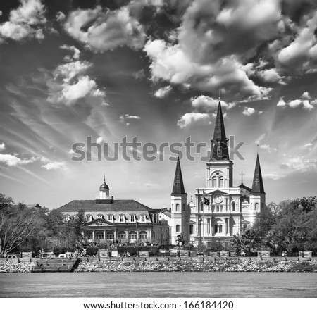 New Orleans. View of St Louis Cathedral from Mississippi river. - stock photo