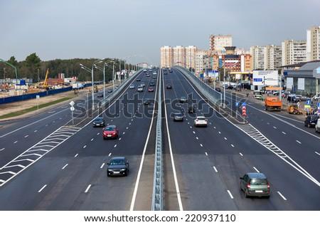 New overpass near Moscow in Kotelniki, Russia - stock photo