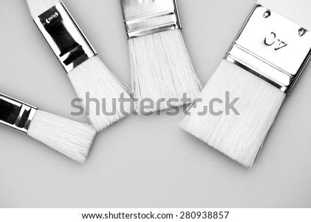 New paintbrushes with light grey background