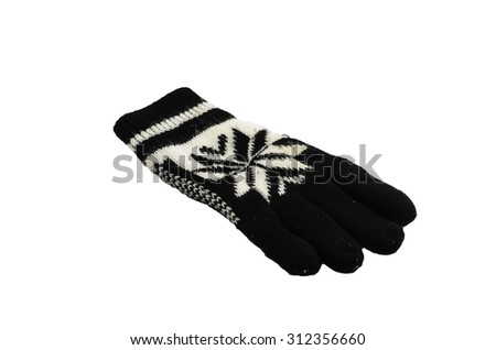 New Pair of Black and white Knit Gloves with Pattern isolated on white background - stock photo