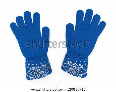 New Pair of Blue Knit Gloves with Pattern isolated on white background - stock photo