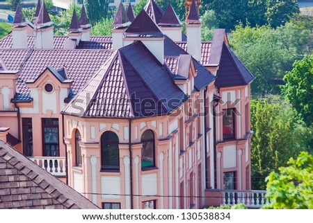 new peaked roof with gables and chimneys   Save to a lightbox���¡   find similar images  share���¡ Roof of the  cottage with chimneys and dormers - stock photo