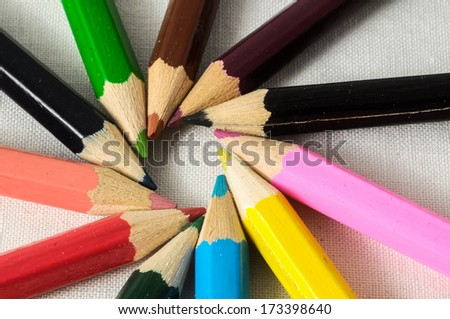 New Pencils Textured Set on a Colored Background