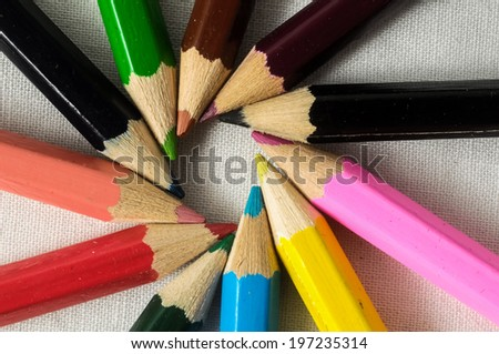 New Pencils Textured Set on a White Background