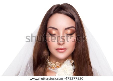 New perfect beautiful bride woman girl lady princess prepare for wedding. white long veil, white swarovski diamond necklace. Professional make up bright eyes beige lips lipstick. background horizontal