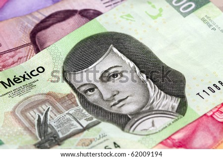 New 200 peso mexican bill aside from others.