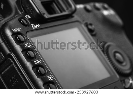 New photo camera details close-up - stock photo