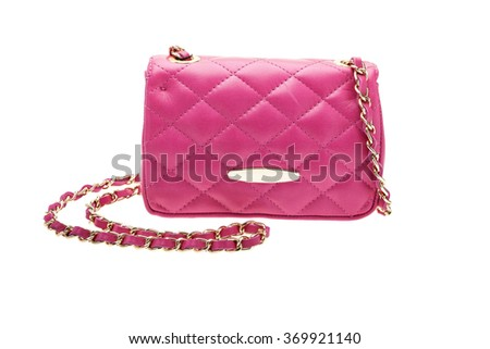New pink womens bag isolated on white background.