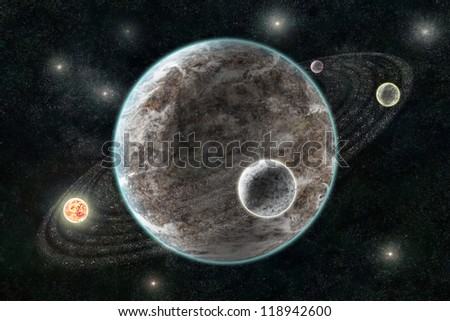 New Planetary System, Abstract cosmic background with planets and stars - stock photo
