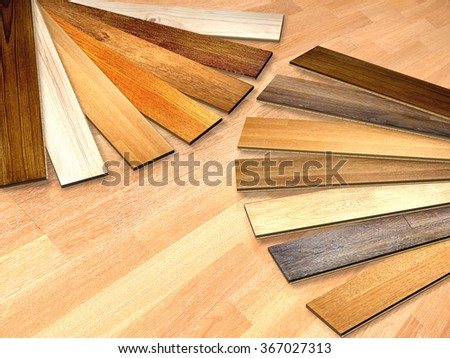 New planks of oak parquet of different colors. 3d