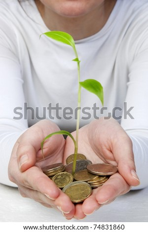 new plant sprouting from a hand with money - concept for business, innovation, growth and money. isolated on white - stock photo
