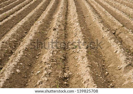 New ploughed field in Poland. - stock photo