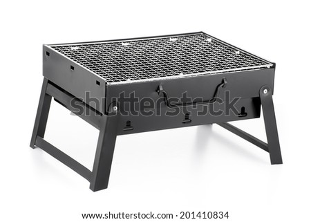 New Portable Grill Isolated on White Background - stock photo