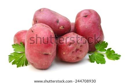 New potato tuber heap isolated on white background cutout  - stock photo