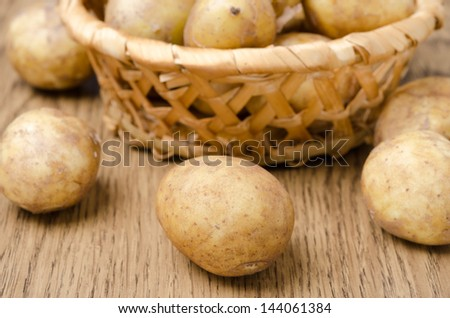 new potatoes on wooden table close-up, selective focus, horizontal