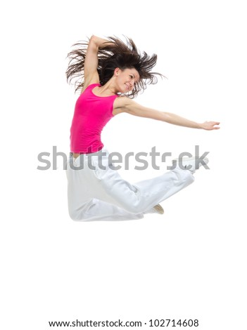 New pretty modern slim hip-hop style teenage girl jumping dancing isolated on a white studio background