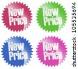 New price sticker set - isolated on white - stock photo