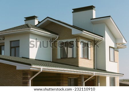 new private house building facade - stock photo